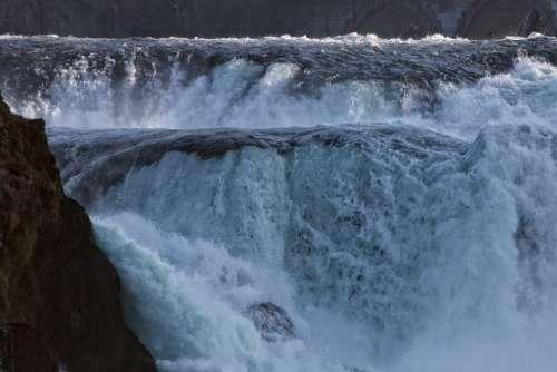 Rhine Falls Water Mass Roaring Flood