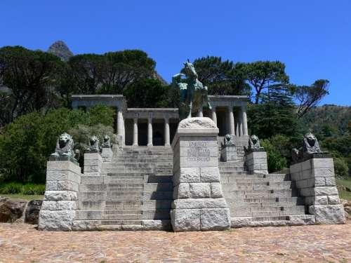 Rhodes Memorial Statue Monument Pillars Lions
