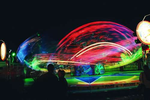 Ride Carousel Motion Blur Colorful Red Green