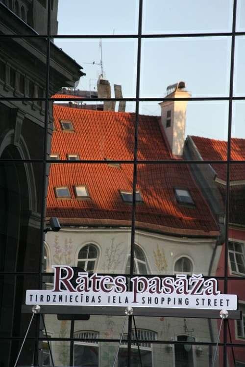 Riga City Architecture Building Mirroring Glass