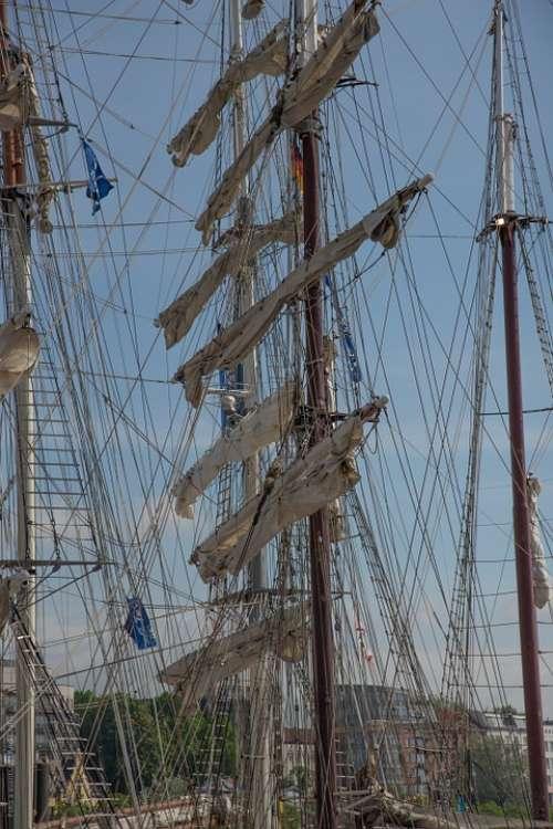 Rigging Sailing Vessel Boat Mast Sail Sun