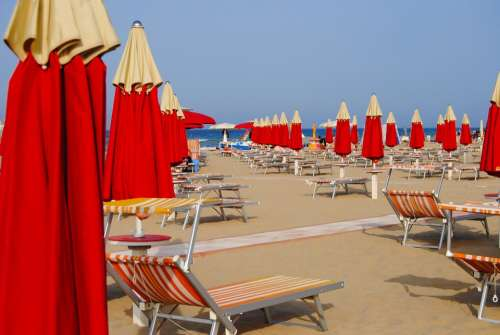 Rimini Italy Beach Umbrellas Sunshades Vacation