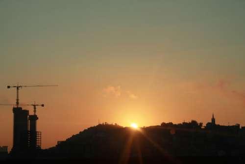 Rio De Jainero Sunrise Baukran Hill