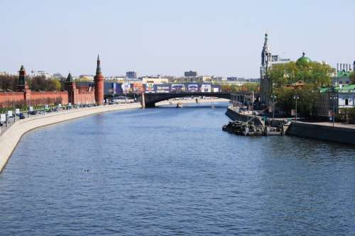 River Moscow Russia Water Blue Sky Day Time