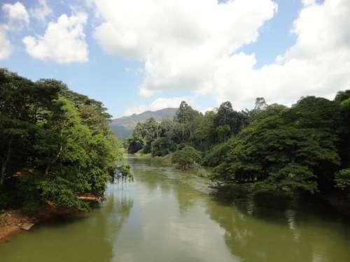 River Sky Clouds Green Landscape Sri Lanka