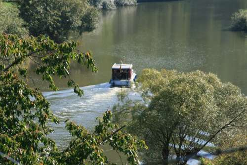 River Boat Water Nature Waters Trees Valley Lahn