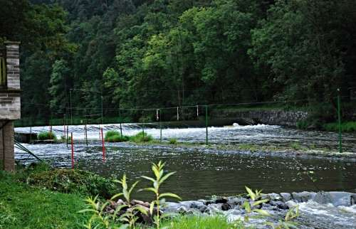 River Camp Lužnice Slalom Course Weir Slalom Poles