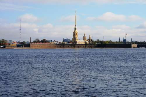 River Neva Water Blue Island Fortress Cathedral