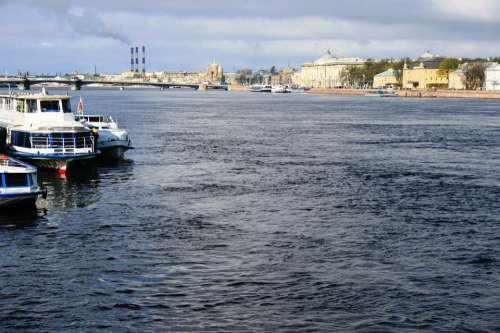 River Neva Deep Wide Fresh Water Shimmer Boats