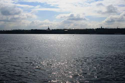 River Neva Great Water Shimmering Shiny Vast