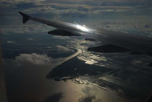 River Sunset Beautiful Wing Airplane Sky Flying