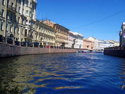 River Moyka Buildings Sky Blue Peter Russia