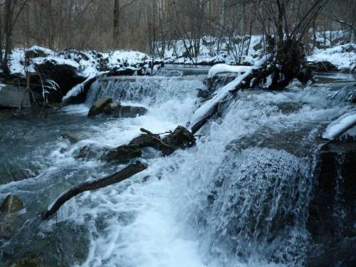 River Waterfall Water Nature Winter Snow