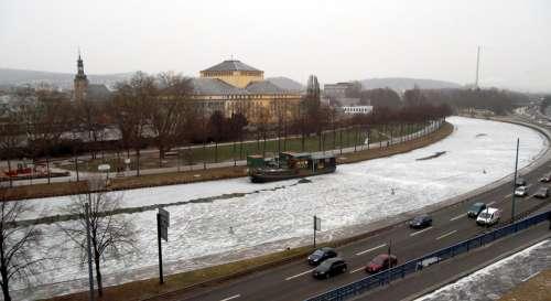 River Saar Theater Saarbrücken Ship Landscape