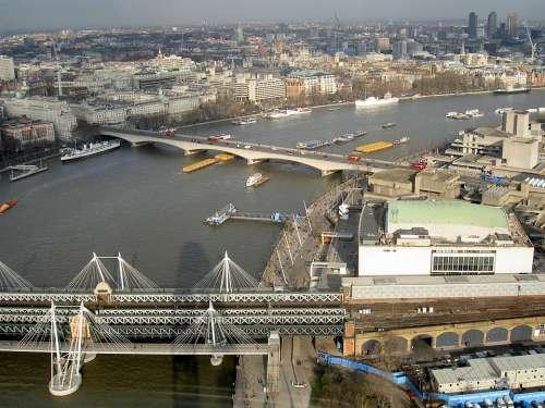 River Thames Bridges Boats Skyline London Ships
