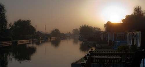 River Atmospheric Boat Norfolk Broads Uk Landscape
