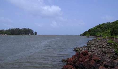 River Estuary Terekhol Sea Goa India