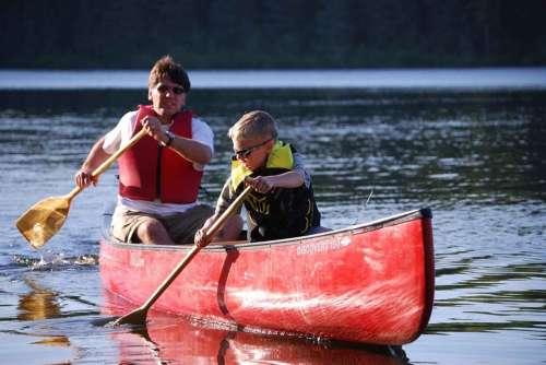 River Canoe Paddle Son Father Kayaking Canoeing