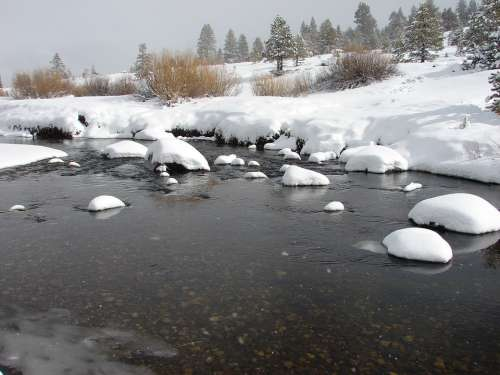 River Snow Nature Landscape Winter Water Sky