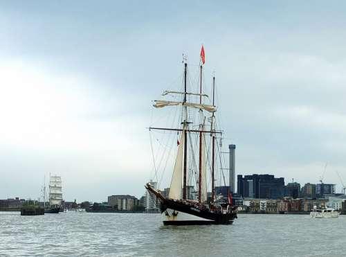 River Thames Ship Sail Masts City Uk Tall