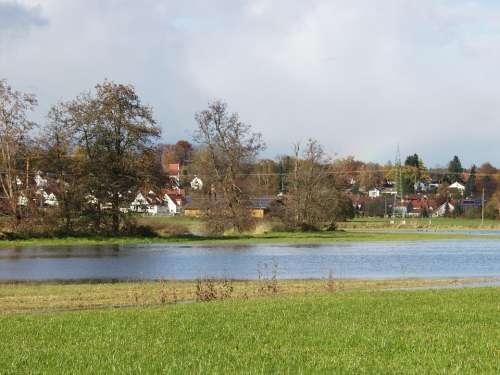 River Landscape Flooding Wet Meadows Water