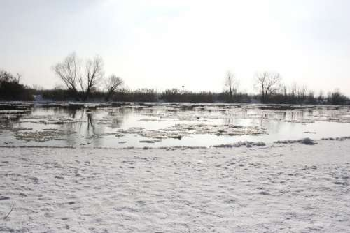 River Frozen River White Snow Ice Landscape Cold
