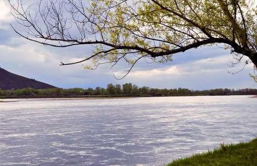 River Landscape Storm Clouds Sky Grass Tree
