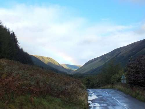 Road Rain Rainbow Scotland North Scotland