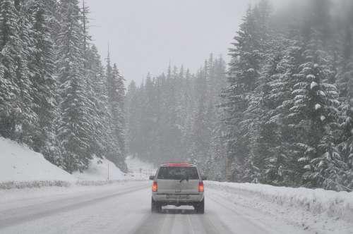 Road Car Auto Winter Snowed In Scenery Foggy