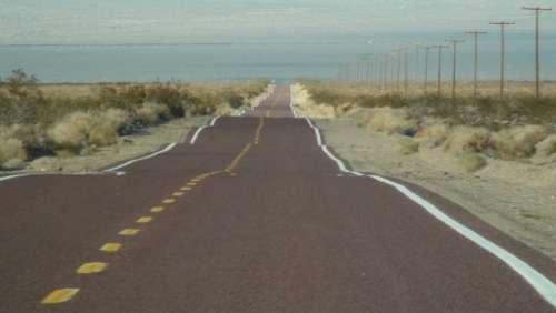 Road Street Horizon Long Nevada Landscape