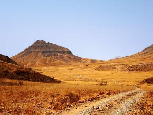 Road Track Desert Hill Rocks Tree Lonely Barren
