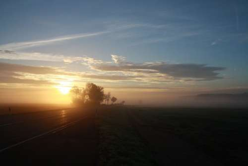 Road Morgenstimmung Cold Autumn Haze Fog