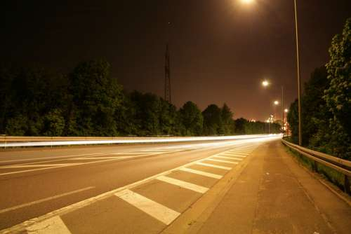 Road Light Long Exposure Asphalt Tar Road Markings