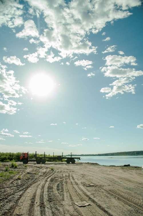 Road Sky Sun Beach Machine Clouds Summer River