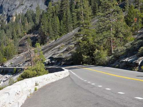 Road Travel Usa Yosemite Landscape Nature Highway