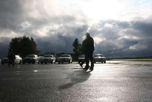 Road Parking Rain Human Auto Sky Clouds Lights