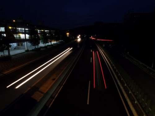 Road Long Exposure Spotlight Highway Traffic Night