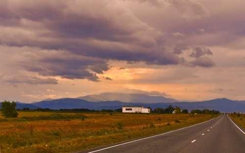 Road Mountain Landscape Lightning Clouds Summer