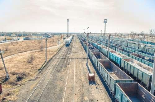Road Trains Wagons Railway Tracks Railway Train