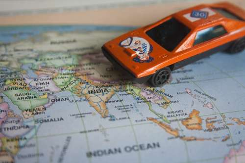 Road Trip World Map Toy Car Auto Map Vehicle