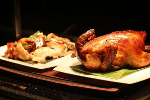 Roast Duck Food Chopped Whole Cuisine Background