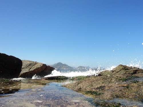 Rock Mar Beach Paradise Wave Blue Holidays