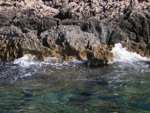Rock Sea Croatia Surf Coast