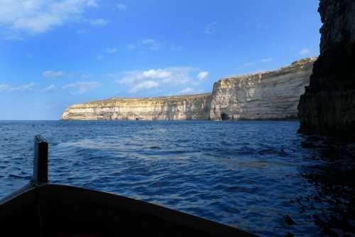 Rock Rocky Coast Sea Gozo Mediterranean Shipping