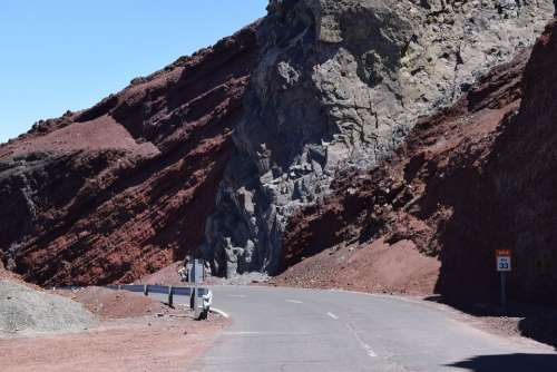 Rock Mountain Road Cliff Mountains La Palma