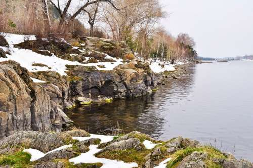 Rock Beach River Snow Nature Landscape