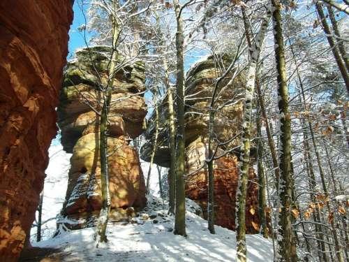 Rock Palatinate Sandstone Winter Vacations Hiking