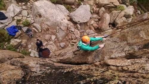 Rock Climbing Female Teamwork Trust Extreme