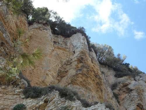Rock Wall Mallorca Cliffs Rock Steep Stone Wall