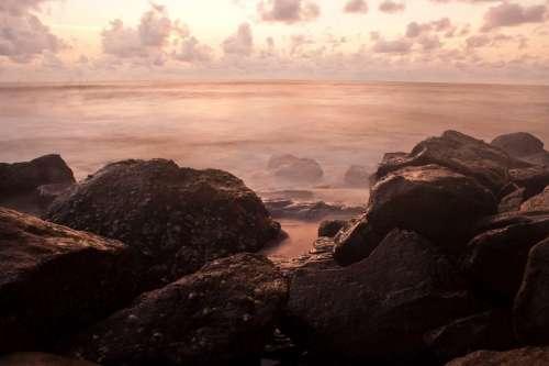 Rocks Sea Ocean Ambient Scenery Misty